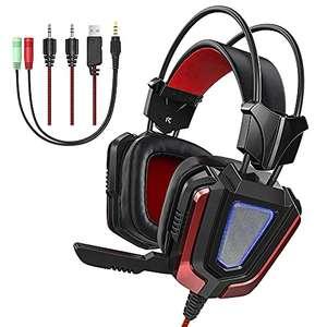 Cuffie Gaming con Microfono Isolante e Luce LED, per PC, PS4, Xbox, Smartphone – Driver da 50mm e Adattatore da 3,5mm