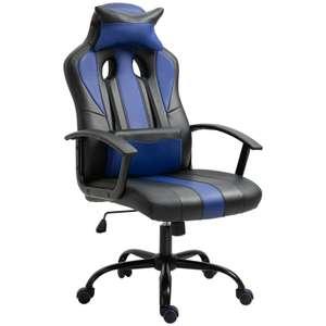 Sedia da Gaming con Cuscino, Nero e Blu, 66 x 64 x 116-126 cm