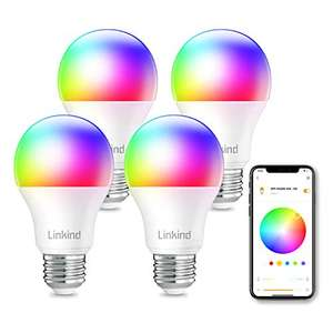 4x 9W Linkind, lampadine a LED RGB WiFi, A60 E27