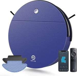 Robot Aspirapolvere Mini,2200Pa Aspira e Lava Contemporaneamente 6D Sensore di Collisione App/Alexa 500ml