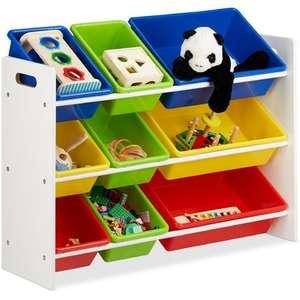 Scaffale per Bambini con Box Porta-Giochi, Contenitori Colorati per Giocattoli, MDF+Plastica, 68x86x31 cm