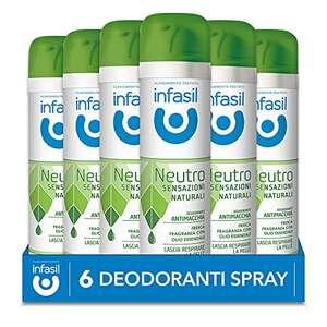 6x Infasil Deodorante Spray Neutro Sensazioni Naturali Fragranza con Olio Essenziale, Antimacchia