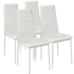 Set 4 Sedia per sala da pranzo cucina pelle sintetica moderne Bianco 41x45x98cm