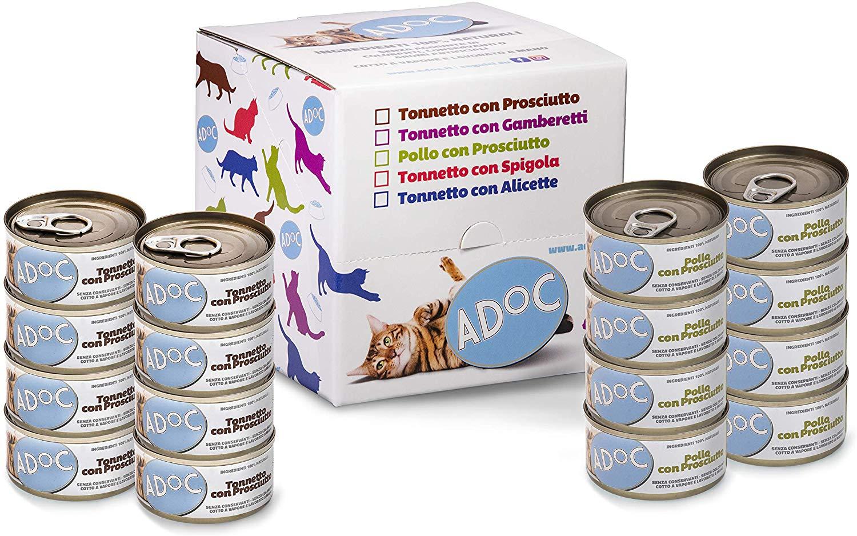 16x ADOC Cibo Umido per Gatti con Ingredienti Naturali al 100% - Lattine da 85 Gr