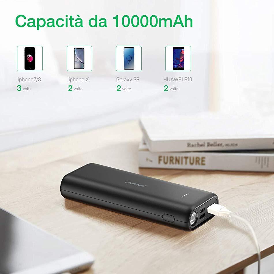 Charmast Powerbank 10000mAh Caricabatterie Portatile con LED Torcia