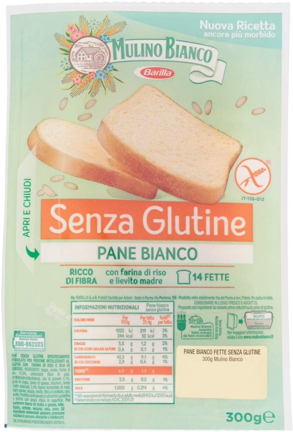 Mulino Bianco Pane Bianco Senza Glutine per la Colazione, Pranzo e Cena - 300 gr