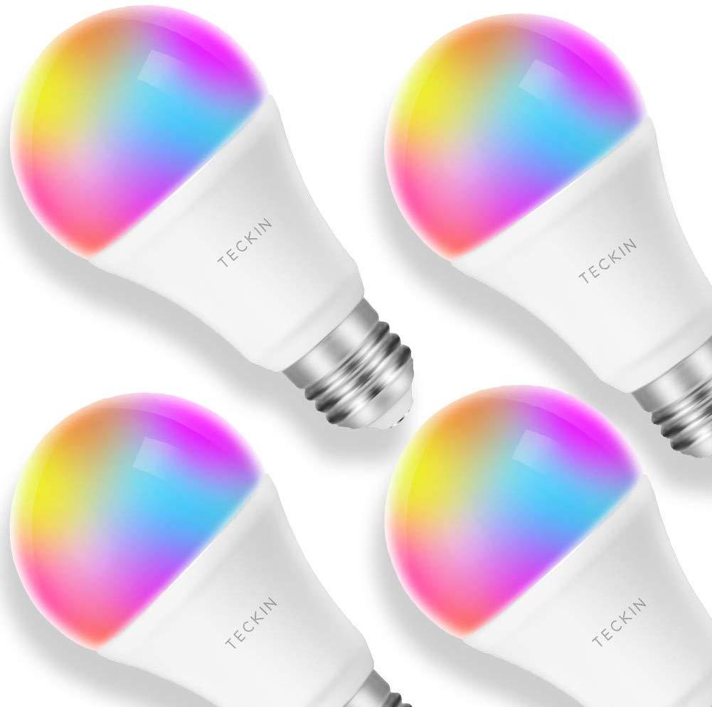 Lampadina Smart LED Multicolore Dimmerabile TECKIN E27 Compatibile Con Alexa,Google Home, 8W, 4 Pezzi