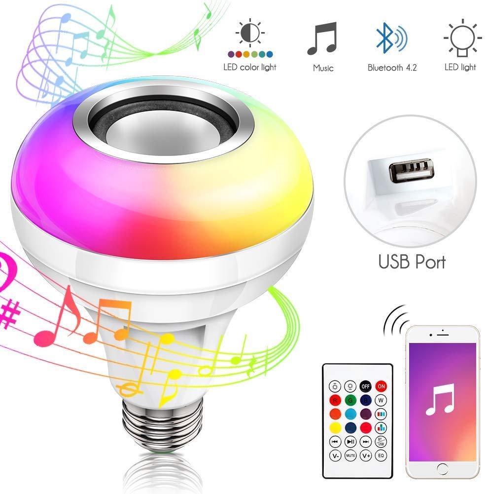 Haofy Lampadine Colorate Led, E26/E27, Altoparlante Bluetooth Rgb, Cambia Colore, Con Porta Usb E Telecomando