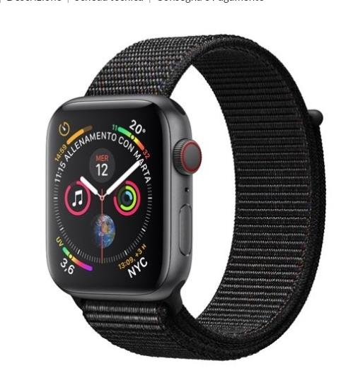 APPLE Watch Series 4 40mm GPS + Cellular in alluminio grigio siderale con Sport Loop nero