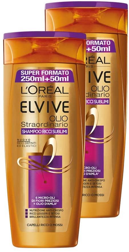 L'Oréal Paris Elvive Olio Ricci Sublimi Shampoo Idratante per Capelli Ricci o Mossi, 2 x 300 ml
