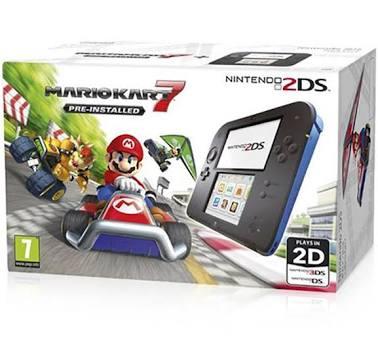 Nintendo 2DS + Mario Kart 7 console da gioco portatile Nero, Blu