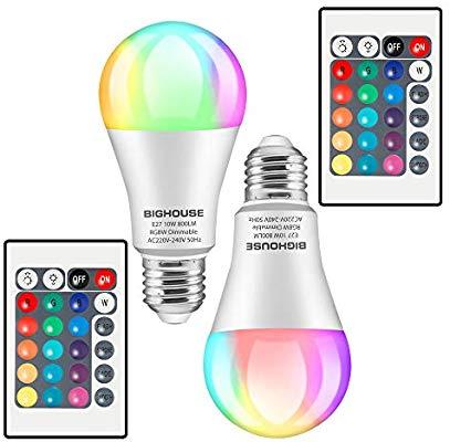 2 lampadine Lampadine 10W Colorate LED E27, 16 scelte di colore