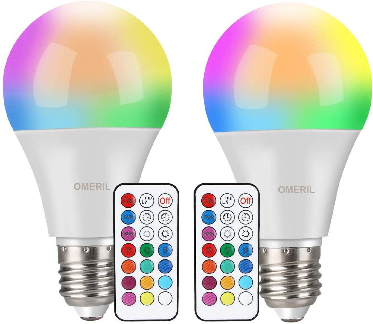 2x Lampadine Colorate LED, OMERIL 10W Lampadine E27
