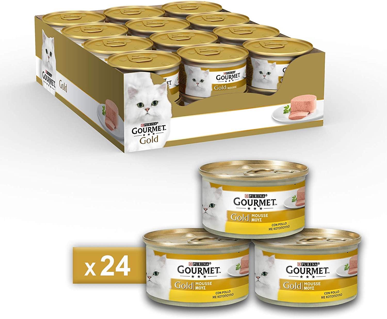 Purina Gourmet Gold Mousse con Pollo, 24 Lattine da 85 g Ciascuna, Confezione da 24 x 85 g