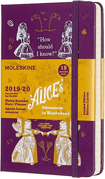 Moleskine Agenda Settimanale Tascabile, 18 Mesi Alice in Wonderland in Edizione Limitata