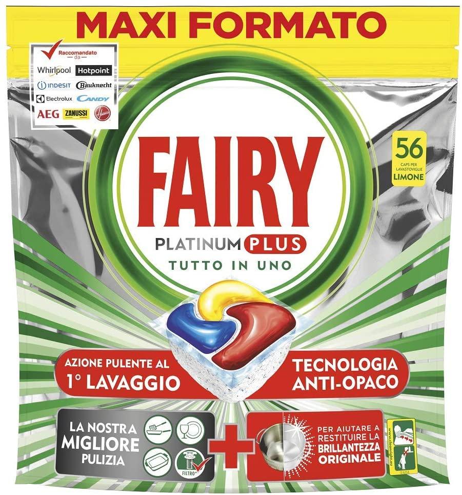 Fairy Platinum Plus Limone 56 Pastiglie per Lavastoviglie