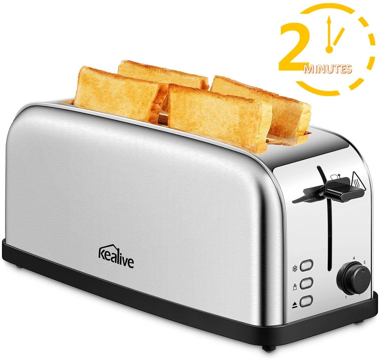 Kealive Toaster Vintage 4 Fette 2 Slot da 1500W
