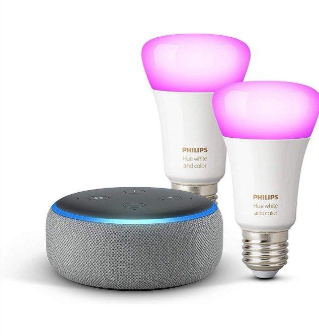 Echo Dot (3ª generazione) + Lampadine intelligenti a LED Philips Hue White & Color Ambiance
