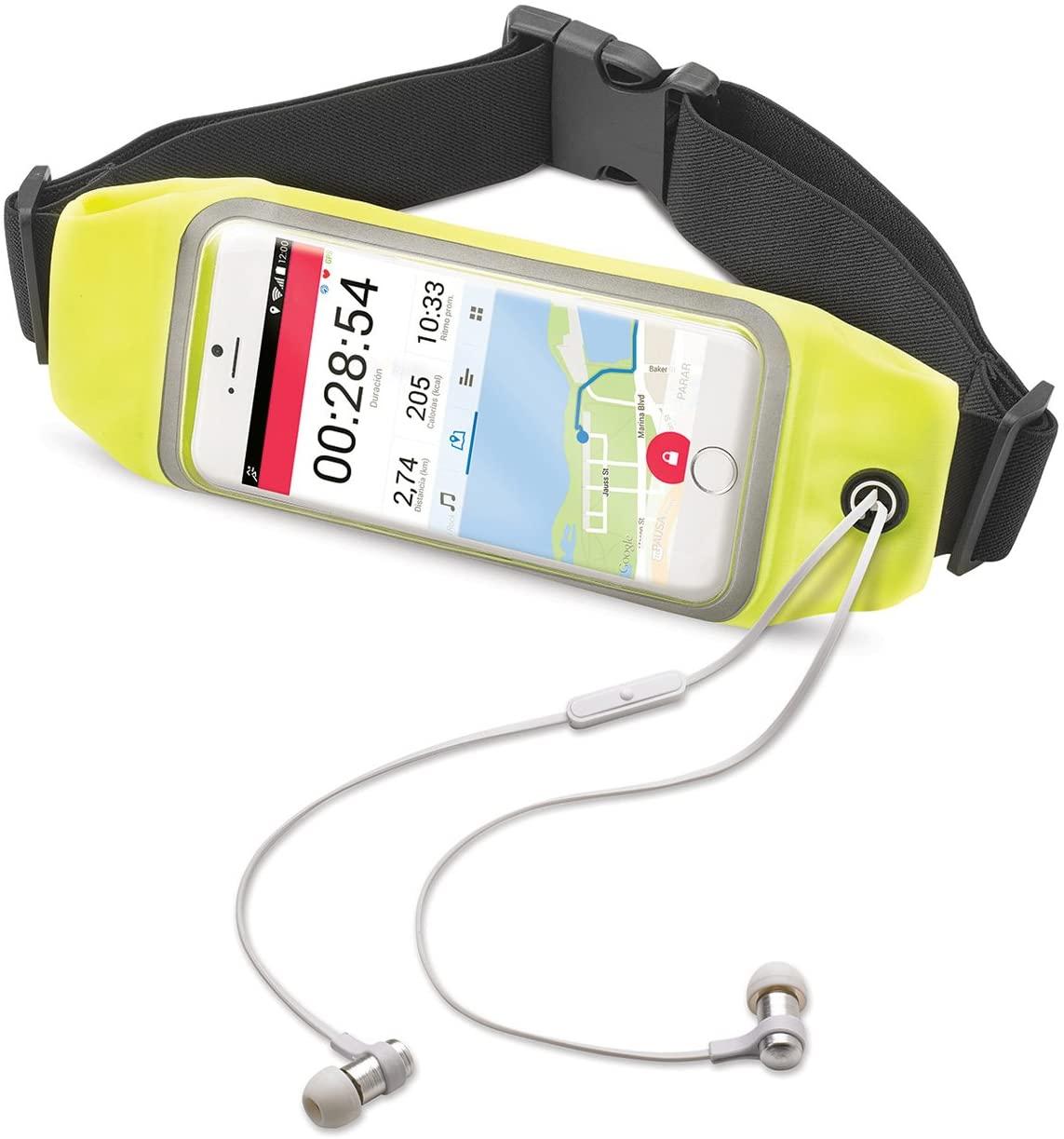 Celly RunBeltView Cintura Elastica da Corsa con Passaggio Auricolari