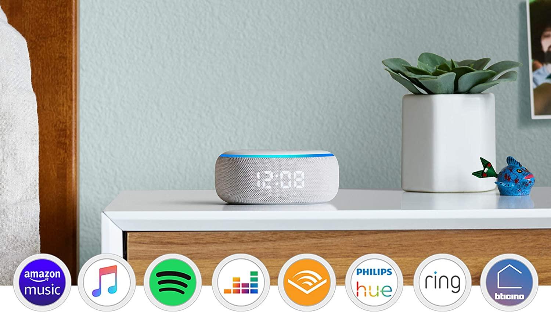Nuovo Echo Dot (3ª generazione) con orologio