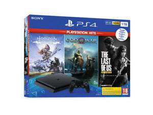 SONY PLAYSTATION 4 PS4 Hits 1TB Slim Horizon Zero Dawn + God of War + The Last of Us
