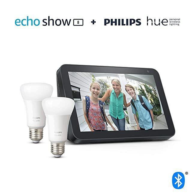 Echo Show 8 - Tessuto antracite +2 Lampadine intelligenti a LED Philips Hue White