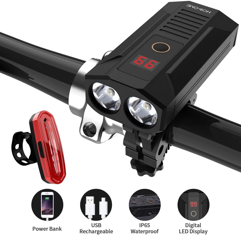 Luce per Bicicletta Ricaricabile USB 5200mAh con Funzione Power Bank