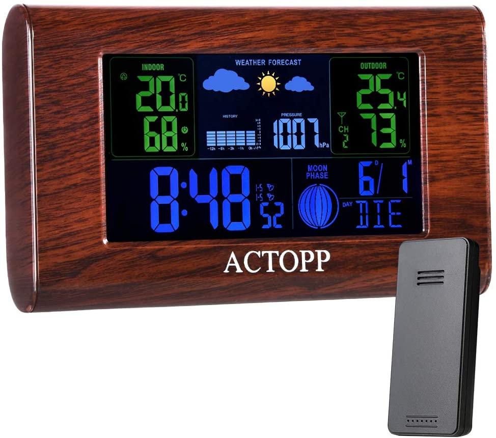 ACTOPP Stazione Meteo Wireless con Sensore, Termometro Igrometro Digitale Interno Esterno