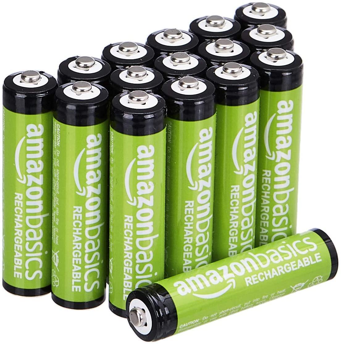 AmazonBasics - Batterie ricaricabili AAA (confezione da 16), 800 mAh, pre-caricate
