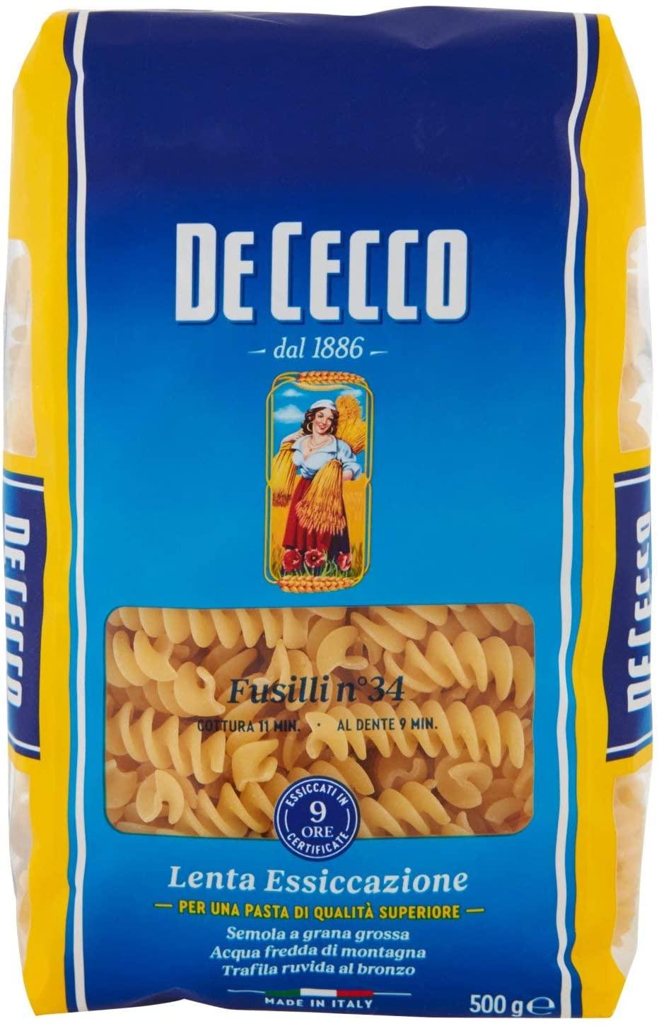 6x De Cecco - Fusilli 34, Pasta di semola di Grano duro 500 gr
