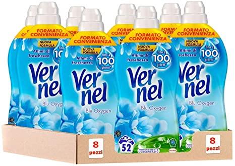 8 x 52 Lavaggi Vernel Blu Oxygen Ammorbidente Concentrato Profumato per Lavatrice,
