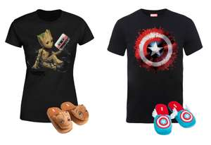 Pack Marvel T-Shirt + Pantofole Groot e Capitan America