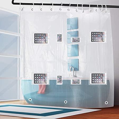 Tenda da doccia con tasche per dispositivi elettronici
