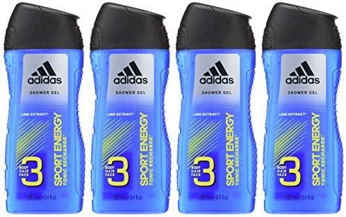 4x 250ml Adidas Gel Doccia Sport Energy 3in1