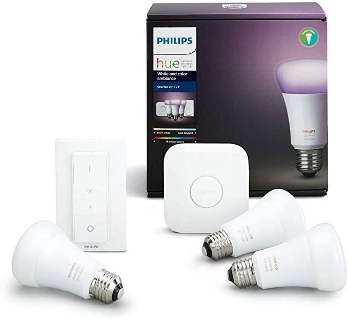 Philips Lighting White and Color Ambiance Starter Kit: 3 Lampadine E27, 1 Bridge e 1 Telecomando Dimmer Switch,16 Milioni di Colori