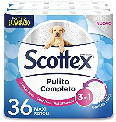 Scottex Carta Igienica Pulito Completo Salvaspazio, Confezione da 36 Rotoli Maxi