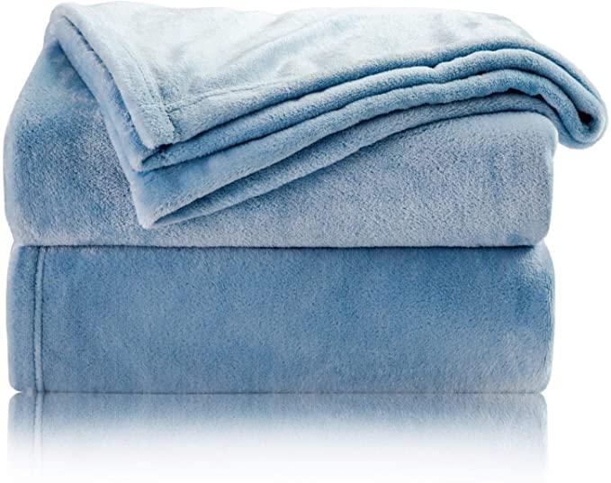 Bedsure Coperta Plaid di Pile Cielo Blu 150x200 cm Letto Matrimoniale - Plaid da Divano Coperte Super Morbido