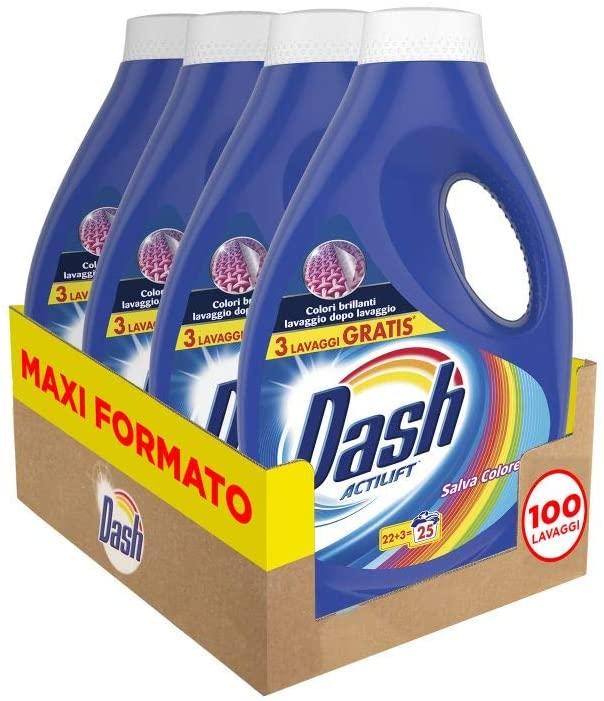 Dash Detersivo Lavatrice Liquido Salva Colore - 4 flaconi da 25 lavaggi