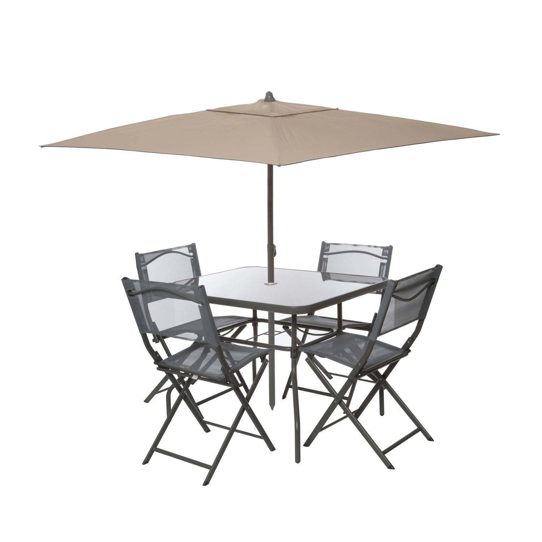 Set tavolo con ombrellone e 4 sedie 119€