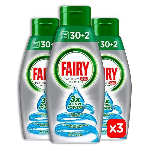 96 lavaggi Fairy Platinum Gel Brezza Marina, Detersivo Per Lavastoviglie