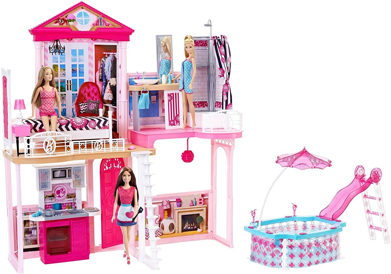 Set Barbie Casa con Piscina + 3 Bambole 87.9€