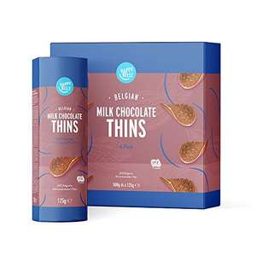 Happy Belly - Chips di cioccolato al latte belga (4 x 125g)