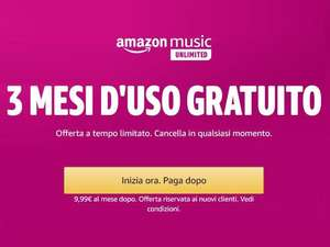 3 Mesi Gratis Amazon Music Unlimited