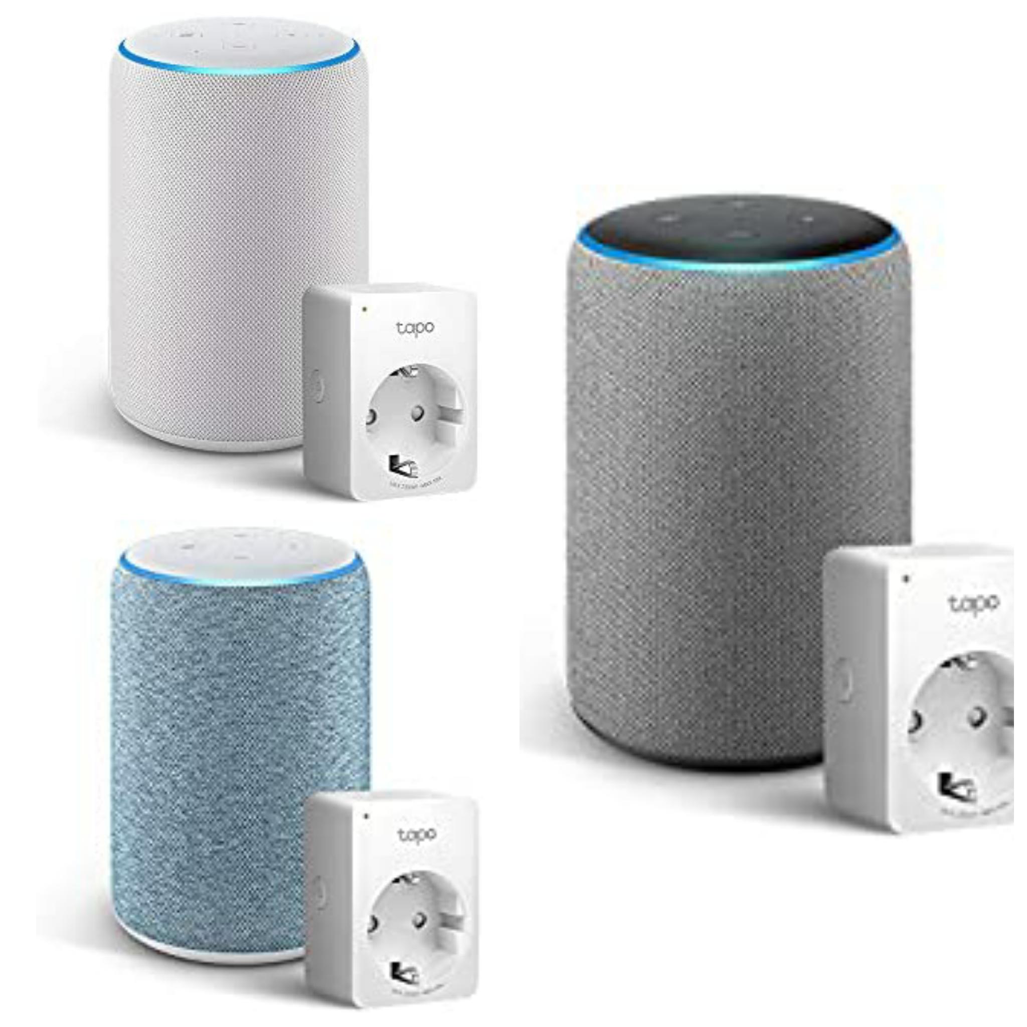 Amazon Echo (3ª generazione) - Diversi colori +Tapo P100 Presa intelligente Wi-Fi