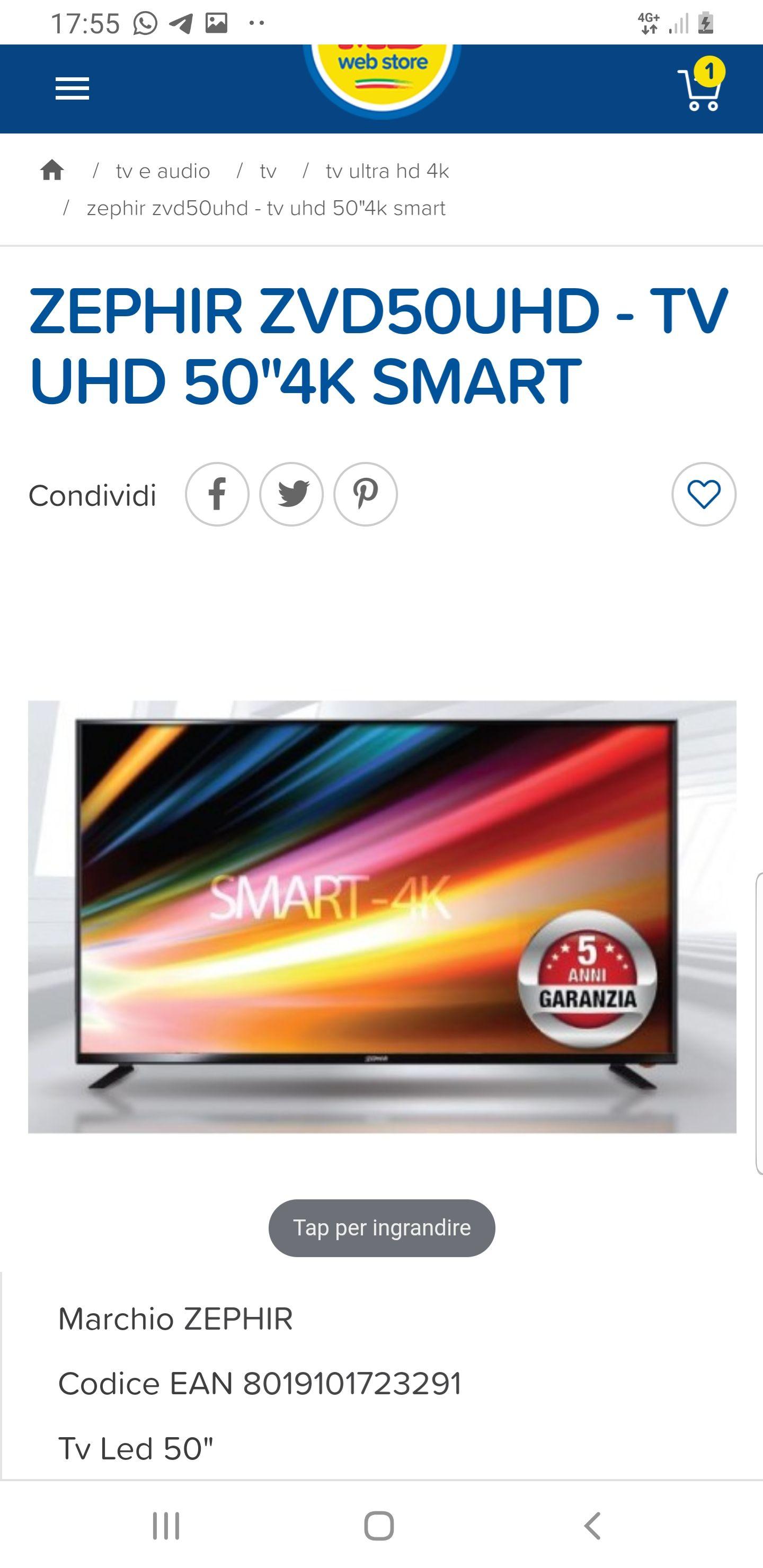 Smart tv 50 pollici