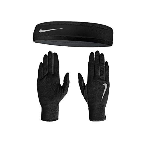 Taglia L/XL: Nike Set Fascia Capelli + Guanti Run Dri-Fit a Dita da Uomo