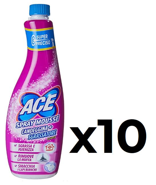 Ace Spray Mousse Candeggina con Sgrassatore 10 x 650 ml
