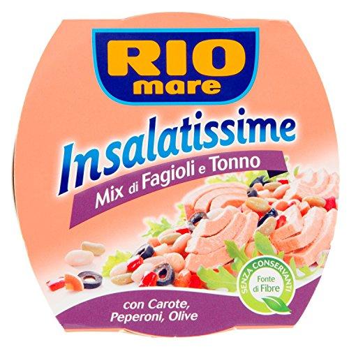 6x Rio Mare Insalatissime Mix di Fagioli e Tonno Pinne Gialle con Carote, Peperoni e Olive
