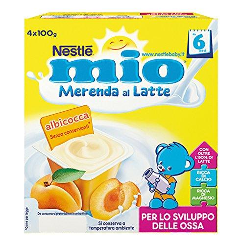 6x4 vasetti Nestlé Mio Merenda al Latte Albicocca, da 6 Mesi