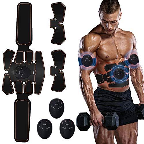 Moonssy Elettrostimolatore per Addominali Electric Massager Tonificante Cintura Addominale Muscle Toner Gambe Braccio Vita Portatile